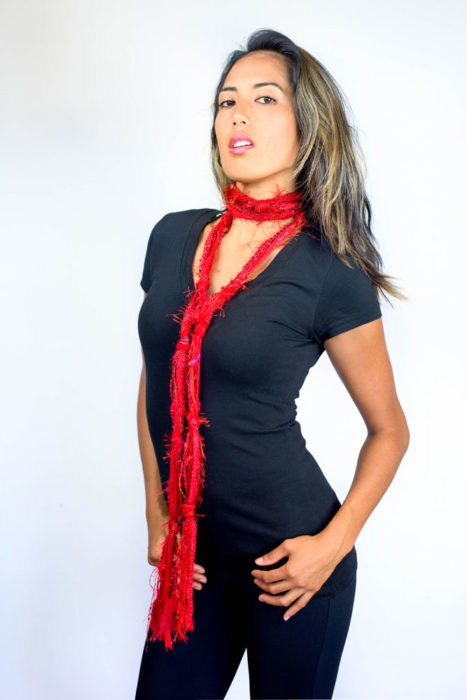 skinny scarf, red
